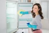 Fényképek Nő takarítást hűtőszekrény
