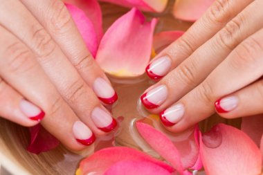 Woman Hands In Bowl Of Water And Petals