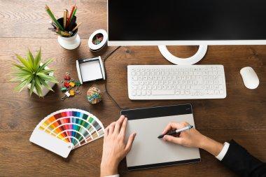 Designer Using Digital Graphic Tablet