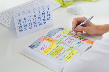 Businessman With Calendar And Diary