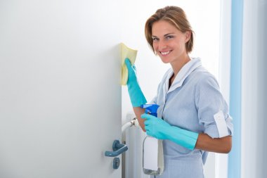Young Maid Cleaning Door