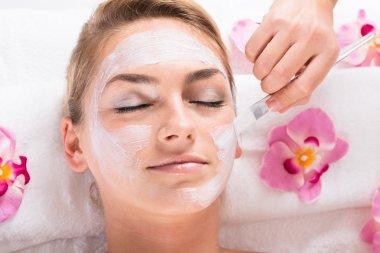 Mask On Customer's Face At Salon