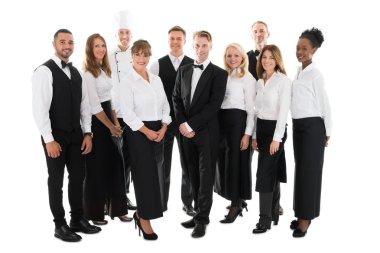 restaurant Staff Standing In Row