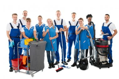 Janitors With Cleaning Equipment