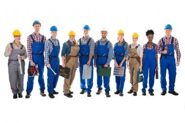 Confident Carpenters Carrying Toolboxes
