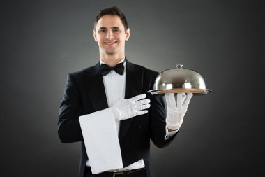 Happy Waiter With Tray And Towel