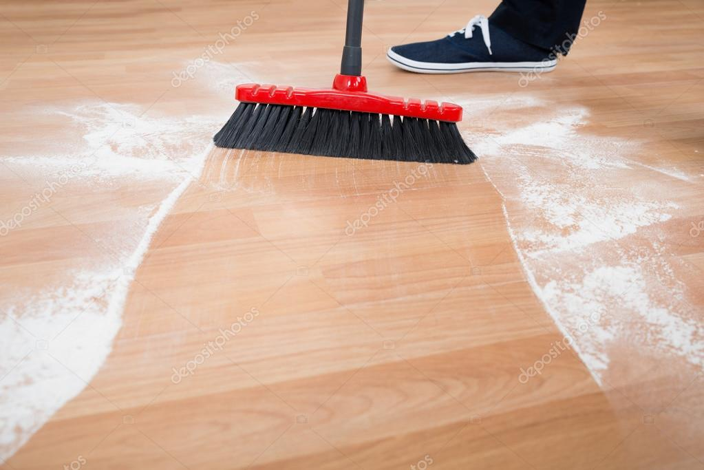 Man Sweeping Hardwood Floor Stock Photo Andreypopov 95377408