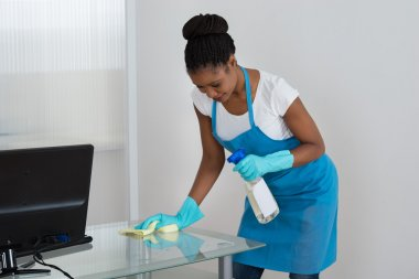 Woman Cleaning Desk With Rag