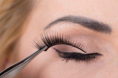 False Eyelashes On Woman's Eye