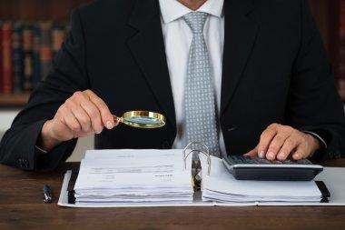 Accountant Scrutinizing Financial Documents