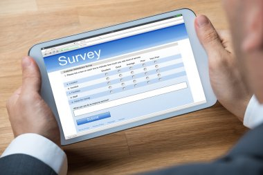 Businessman Giving Online Survey
