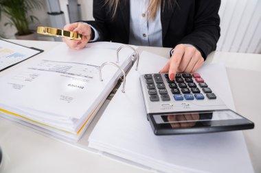 Businesswoman Checking Invoice
