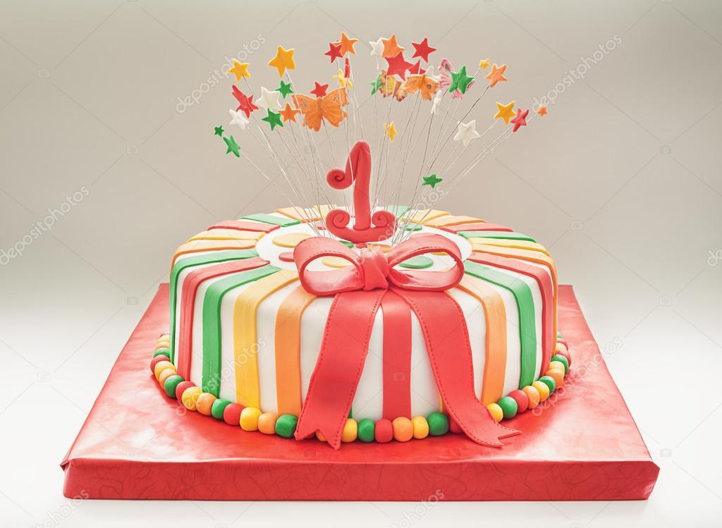 Birthday Cake For First Year Stock Photo Krsmanovic 76184263
