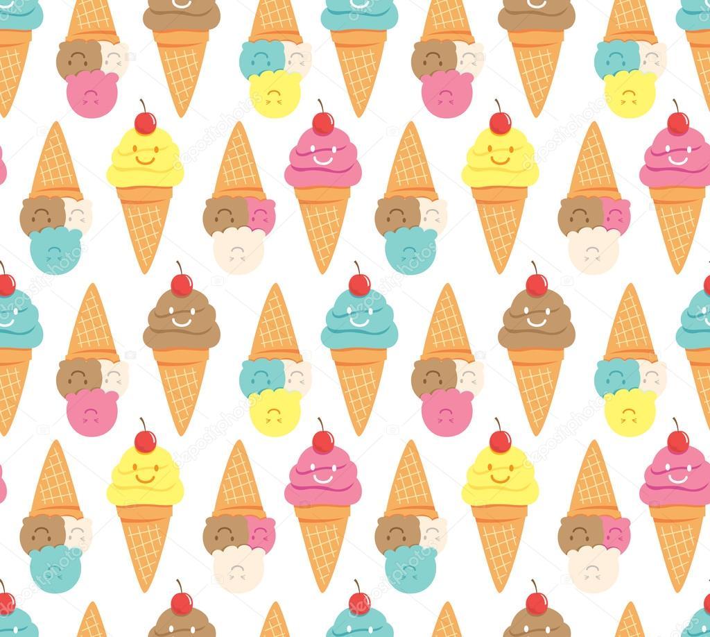 Ice Cream Cone Cool Wallpapers Hd Desktop Wallpaper: Desenhos Animados Sorvete De Plano De Fundo Sem Emenda