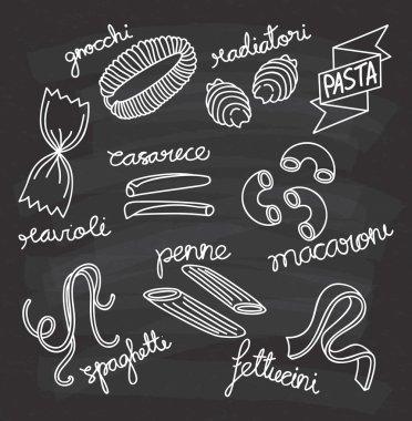 italian pasta icons set
