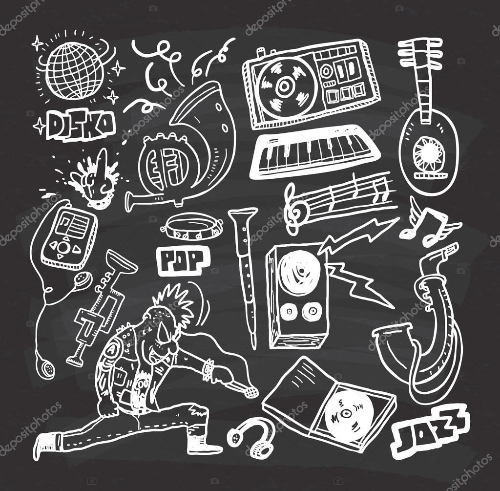 Musik und Abspielen von Ikonen — Stockvektor © mhatzapa ...