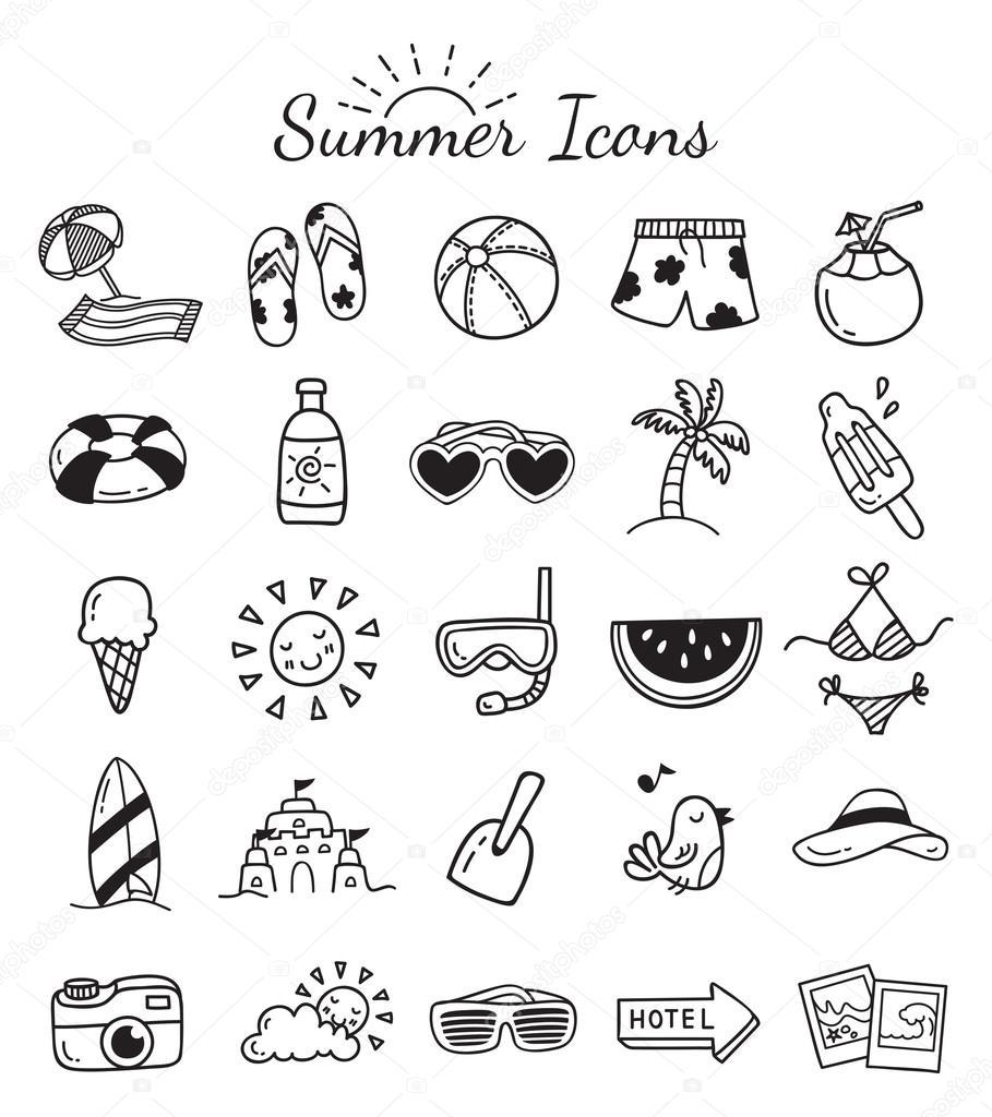Set De Iconos De Dibujos Animados De Verano Viajes