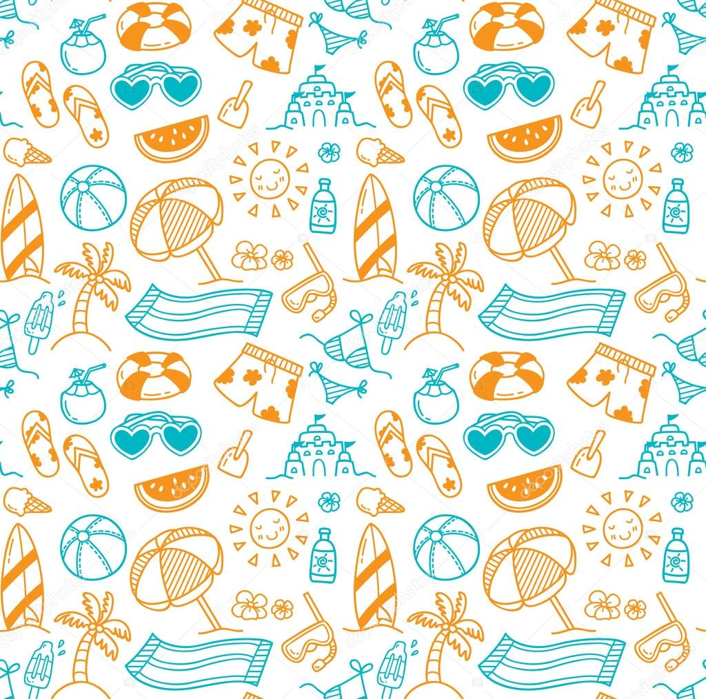 set of summer themed seamless background stock vector mhatzapa