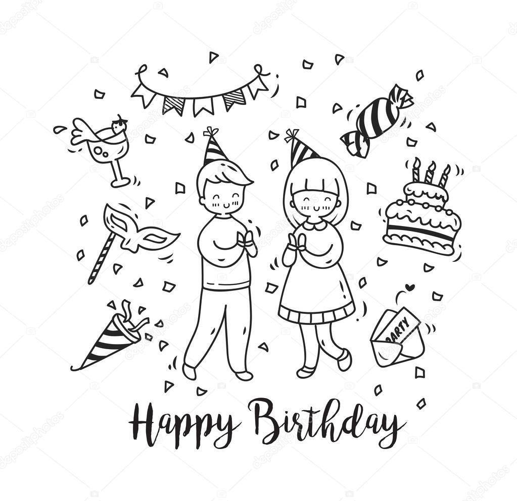 kreslené obrázky k narozeninám kreslené prvky oslava narozenin — Stock Vektor © mhatzapa #107835772 kreslené obrázky k narozeninám