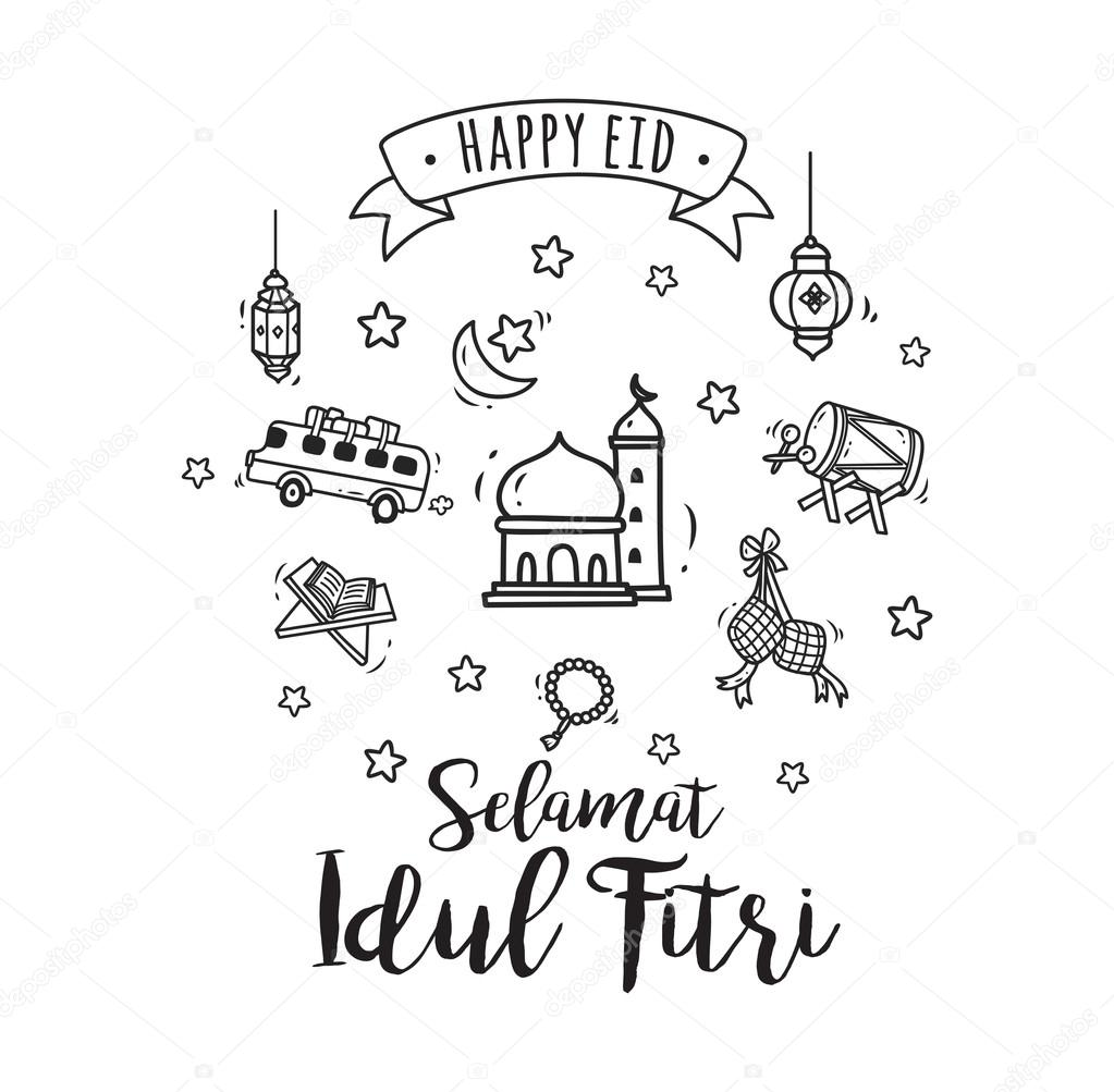 Muslim Holiday Idul Fitri Icons Set
