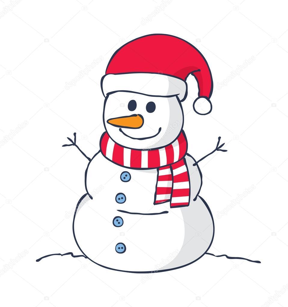 Cartoon Snowman Isolated Stock Vector C Mhatzapa 124279860
