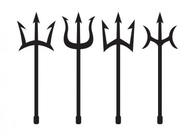 set of trident silhouette
