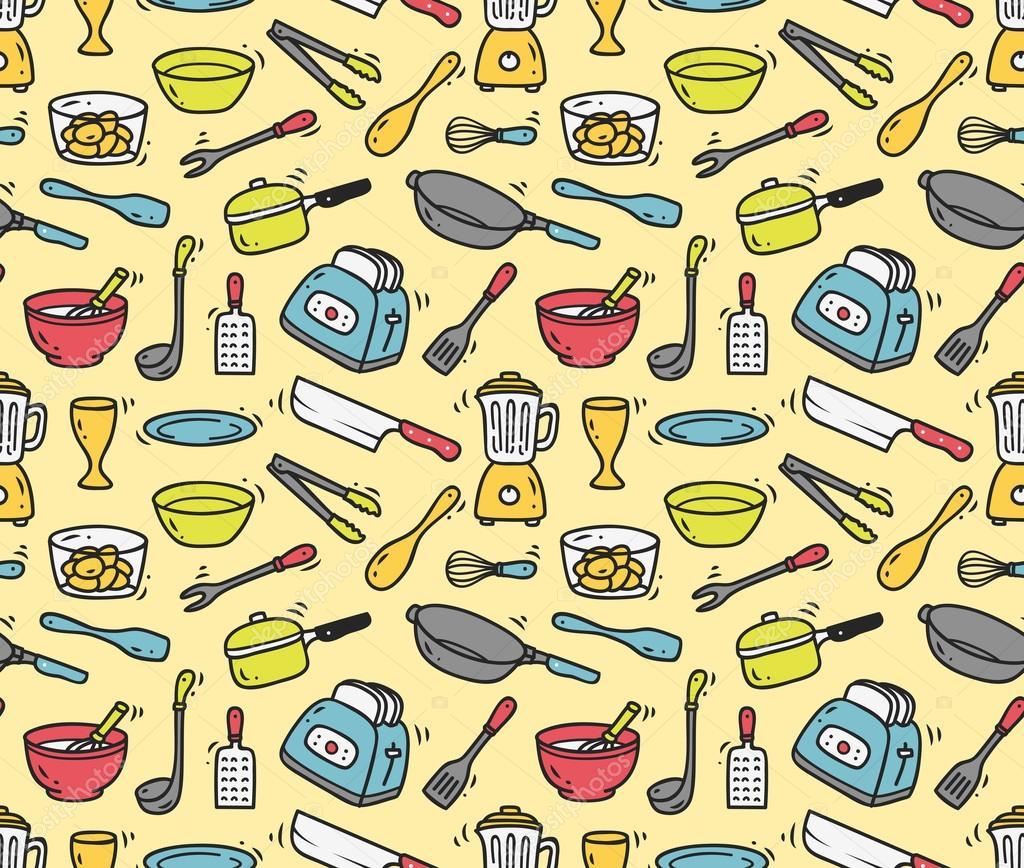 Kitchen Utensils Background: Cooking Utensils Seamless Background
