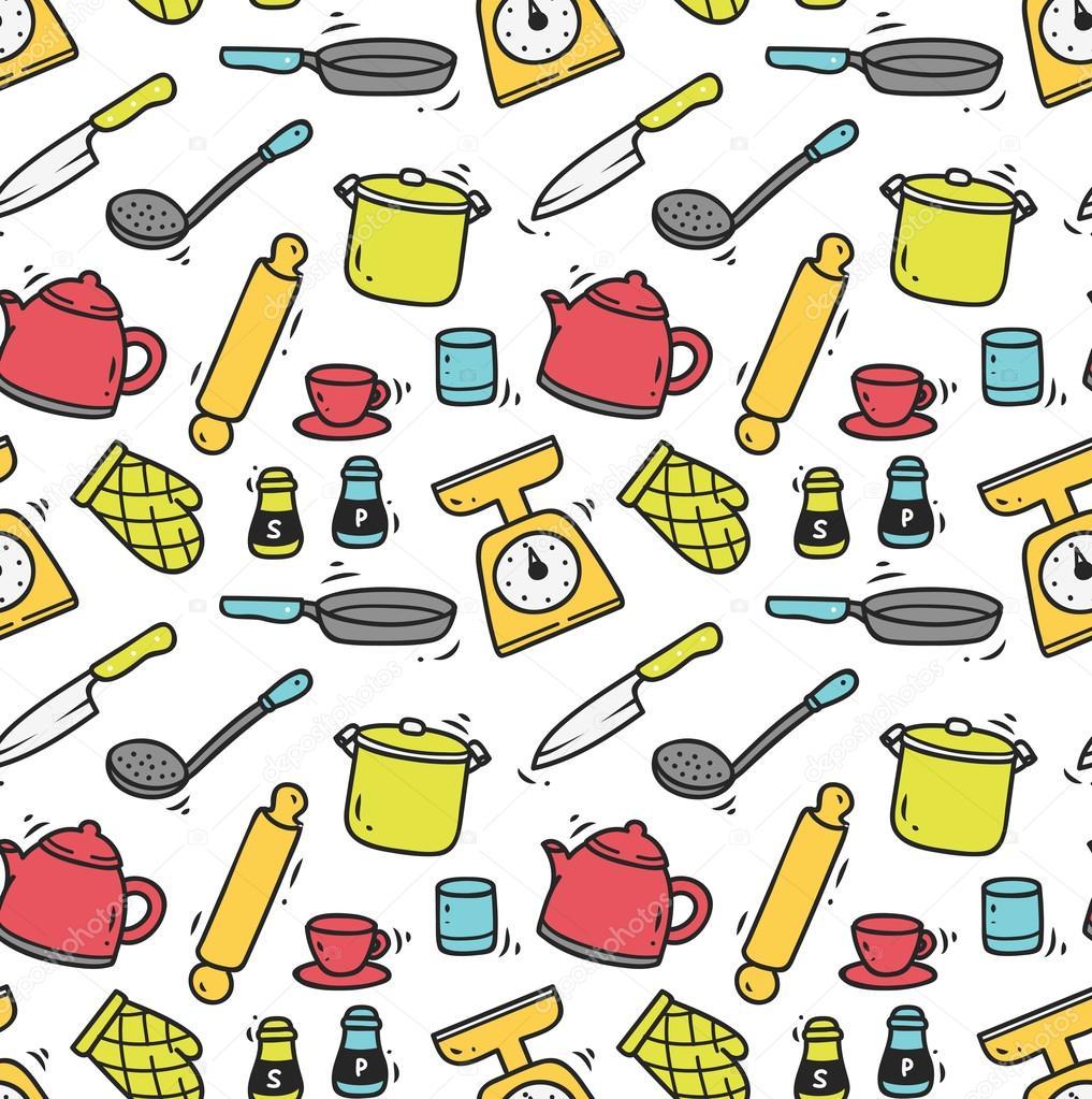 Mutfak aletleri sorunsuz arka plan stok vekt r for Utensilios de cocina fondo