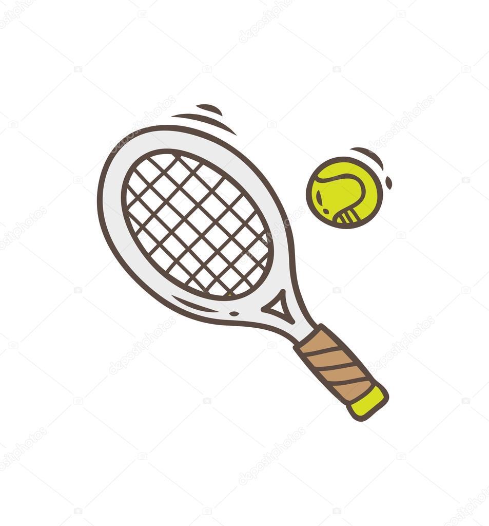 Tenisová raketa a míček ikona — Stockový vektor