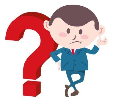 Businessman with big question mark