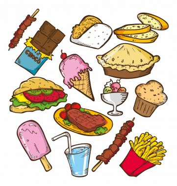 Set of junk food doodle on white paper stock vector