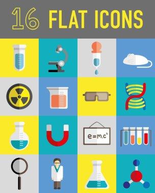 Science lab stuff flat icons