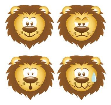 set of lion faces icons