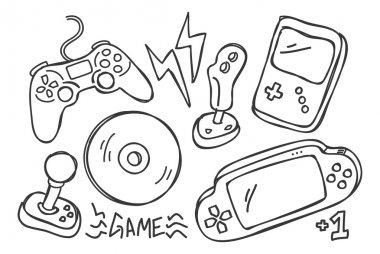 Hand drawn game pads on white background stock vector