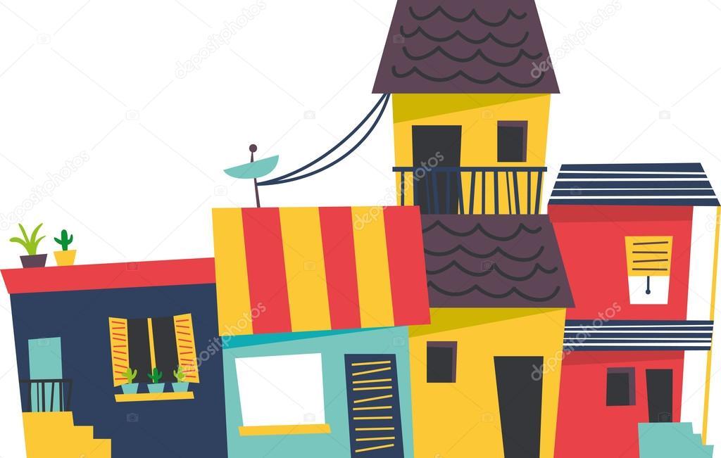 Case di cartone in un concetto di fila per la comunità quartiere