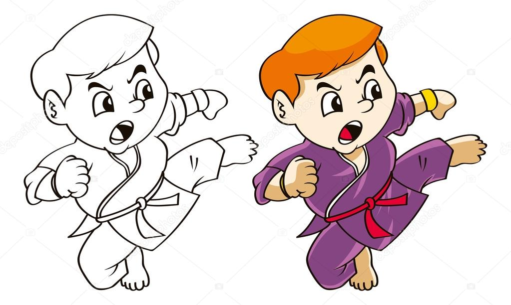 niño de dibujos animados karate — Archivo Imágenes Vectoriales ...