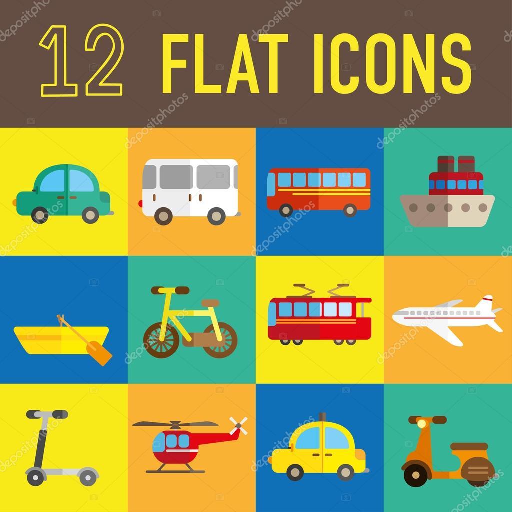 Transportation Flat Icon Stock Vector