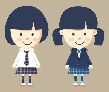 cute little girl wearing school uniform