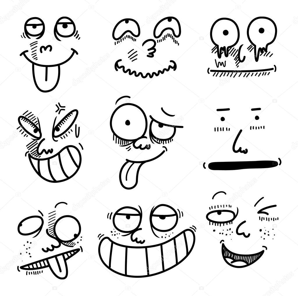 Conjunto De Expresiones De Dibujos Animados Archivo