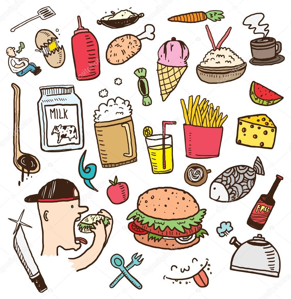 cartoon drink comida icons voedsel dibujos animados vector pictogrammen drank kleur doodle jag beber premium depositphotos mhatzapa