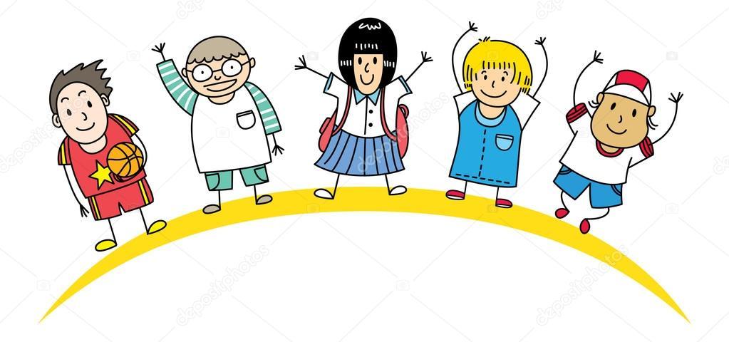 Dibujos Caras De Niños Felices Animadas: Dibujos Animados De Niños Felices