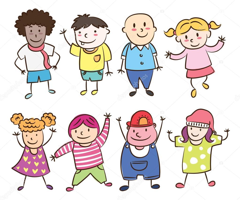 Dibujos Caras De Niños Felices Animadas: Conjunto De Los Niños De Dibujos