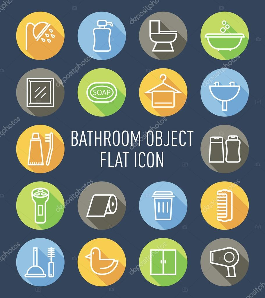 Set Of Bathroom Washing Line Icons Vector By Mhatzapa