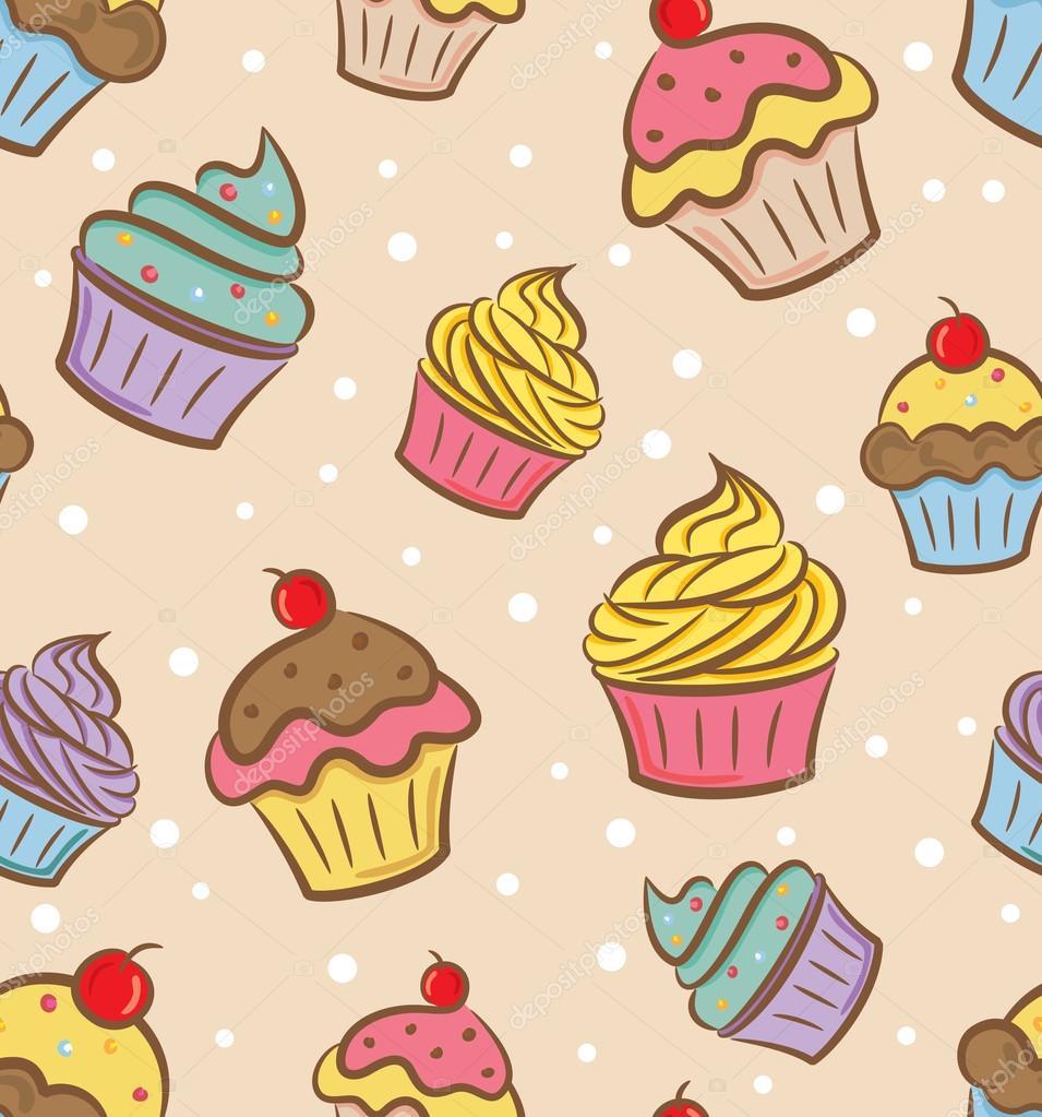 Patrón De Dibujos Animados Cupcakes Archivo Imágenes Vectoriales