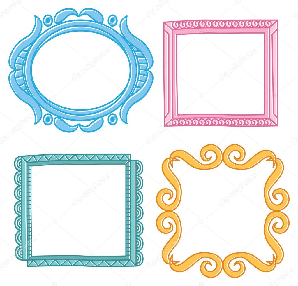 Conjunto de coloridos marcos vintage vector de stock - Marcos rusticos para fotos ...