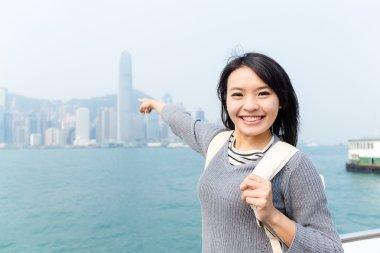 Traveler go for travel in Hong Kong