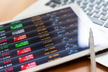 Digital stock market listing on a tablet screen