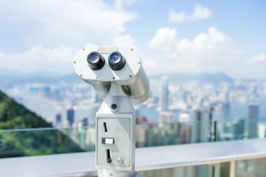 Binocular in the lookout from the Peak in Hong Kong