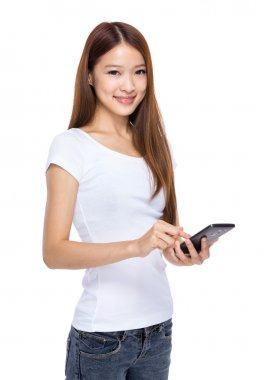 Asian female hold mobile phone