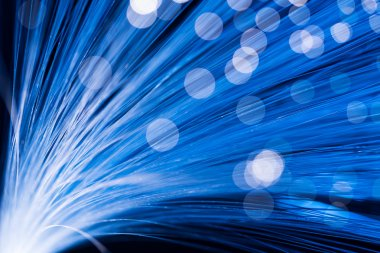 Optical fibre in blue